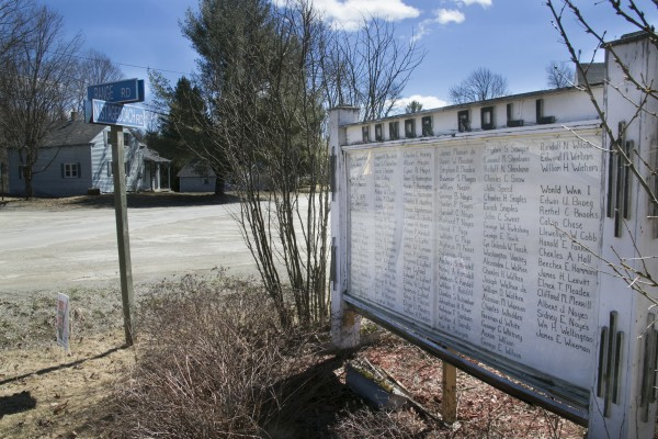 The Honor Roll in Atkinson displays the names of residents who served in the military since the American Revolution. The town of 300 is seeking to deorganize and become an unorganized territory, but a salt and sand pile could add another roadblock to the plans.