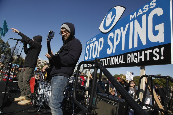 Musicians Not4Prophet perform during the &quotStop Watching Us: A Rally Against Mass Surveillance&quot near the U.S. Capitol in Washington, October 26, 2013.