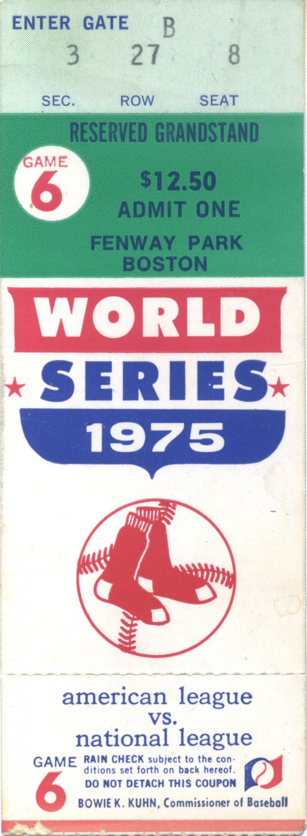 Eddie Adelman's ticket to game 6 of the World Series in 1975.