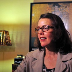 Notre Dame law professor Mary Ellen O'Connell, a leading critic of the U.S. targeted killing program against al-Qaida militants, works in her home office in South Bend, Indiana.