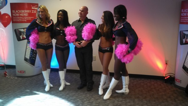 Four New England Patriots cheerleaders visited Bangor on Saturday, Oct. 19, to raise breast cancer awareness. They met and posed for pictures with about 500 fans at the Wireless Zone in Bangor.