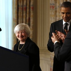 President Barack Obama and outgoing Federal Reserve Chairman Ben Bernanke applaud after Obama nominated Janet Yellen, left, to serve as the next head of the Federal Reserve at the White House in Washington Oct. 9, 2013.