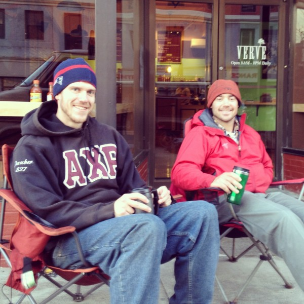 Alex Demeus and David Cassidy, both of Orono, began waiting outside the new Verve restaurant in Bangor at 7 a.m. The new restaurant opened at 8 a.m. at 89 Main St.