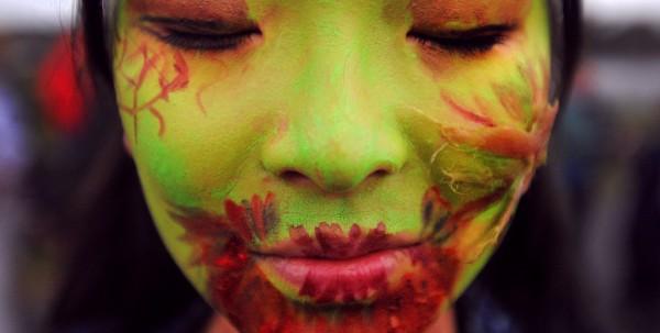 Cathy Dong of Bangor at the 2013 Bangor Zombie Walk on Saturday.