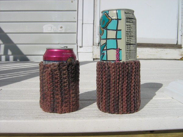 These crocheted (left) and knit can cozies, made with the cotton yarn the color of mud, are intended for use by men who care whether or not they leave water rings on furniture.