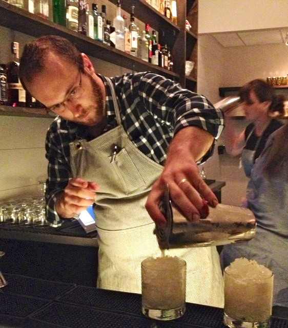 Andrew Volk makes cocktails at his new Portland Hunt and Alpine Club.