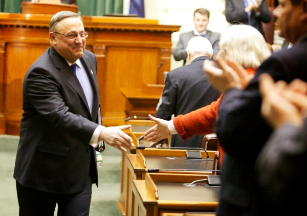 Maine Gov. Paul LePage shakes hands after giving his State of the State address in in the house chambers in Augusta on Tuesday.