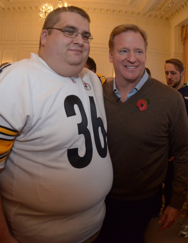 NFL commissioner Roger Goodell (right) poses with Pittsburgh Steelers fan Ben Haslon at the Commissioners Fan Forum at the Landmark Hotel in advance of the International Series game between the San Francisco 49ers and the Jacksonville Jaguars.