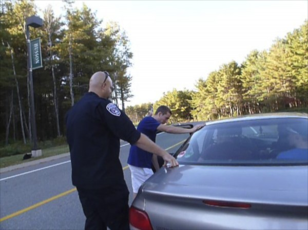 Orono police work with Husson students in a criminal justice class to give them hands on experience of what it's like to do a traffic stop on Husson's campus.