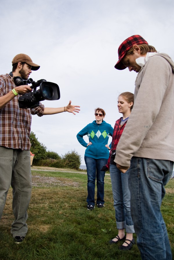 Actors Ian Carlsen and Meghan Benton (from right) act in a scene shot by Karen and Barry Dodd, creators of the Maine-made web series &quotRagged Isle.&quot