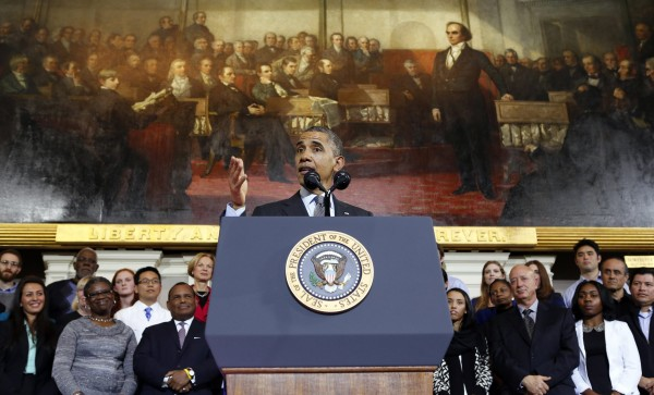U.S. President Barack Obama speaks about health insurance at Faneuil Hall in Boston, Massachusetts October 30, 2013.