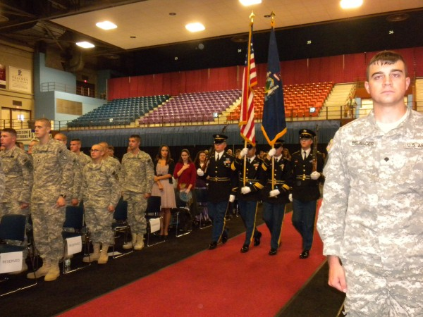 The Maine Army National Guard honor guard presents the state and nation's &quotcolors&quot at a Freedom Salute held Sunday, Oct. 6, 2013, for the 488th Military Police Company, who returned from Afghanistan in mid-June.