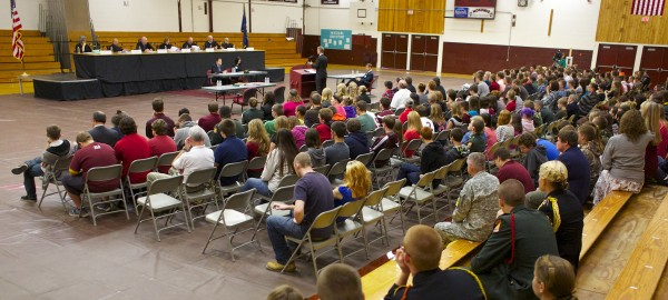 The Maine Supreme Judicial Court heard an appeal at Nokomis High School Tuesday morning as part of a tour to educate Maine students about the court system.