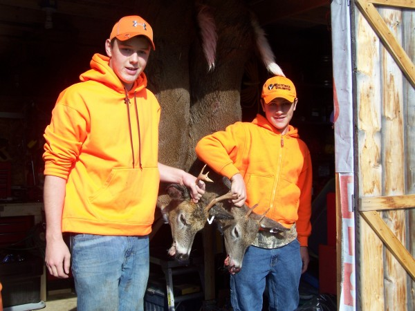 Rodney Mathews, 15, and his brother, Nick Mathews, 12, of Millbridge had a Youth Deer Day to remember on Oct. 26, 2013. The brothers were hunting with their father, Rodney Mathews Sr., when these two bucks stepped into a field at the same time. Rodney's deer was 7-pointer, Nick's a spike-horn. Both were estimated to weigh 140 pounds.