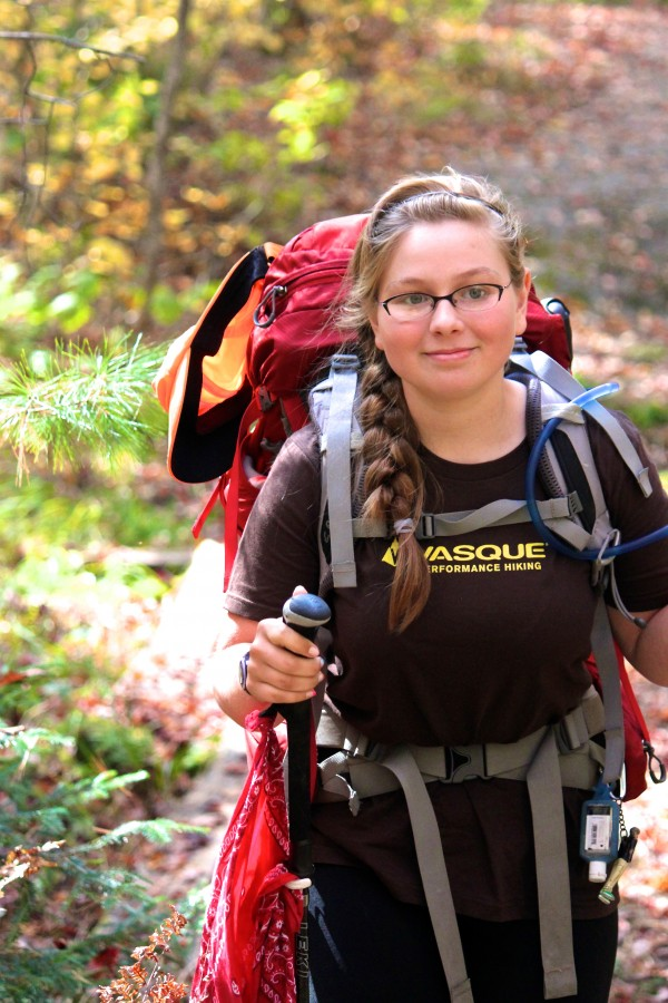 Neva &quotChipmunk&quot Warren, 15, of Florida hikes north on the Appalachian Trail in Monson on Oct. 3 on her way to the northern end of the trail atop Katahdin in an effort to become the youngest solo thru-hiker of the trail.