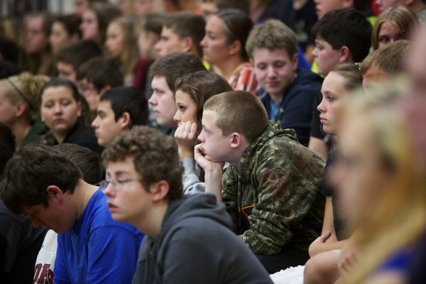 Nokomis High School students listen to the Maine Supreme Judicial Court which heard an appeal at their high school Tuesday morning as part of a tour to educate Maine students about the court system.
