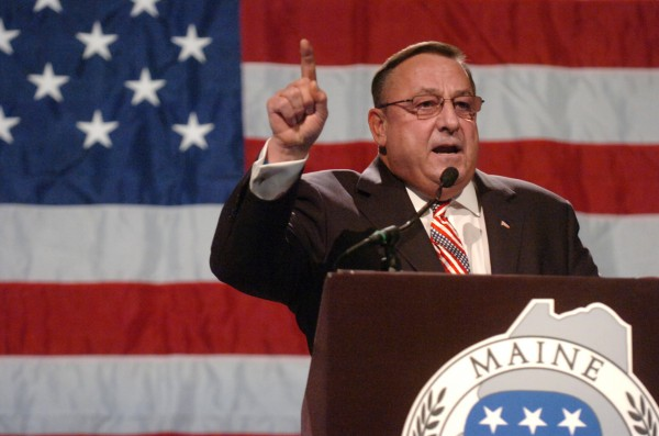 "Gov. Paul LePage speaks at the Maine GOP Convention at the Augusta Civic Center on May 6, 2012. ""Maine's welfare program is cannibalizing the rest of state government,"" he said. ""To all you able-bodied people out there: Get off the couch and get yourself a job."""