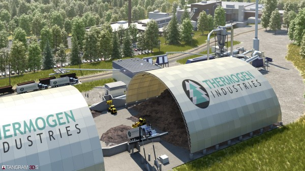 Thermogen Industries, a subsidiary of Cate Street Capital, supplied a rendering of its proposed torrefied wood facility at the Katahdin Avenue paper mill site in Millinocket to the Town Council on April 25, 2012.