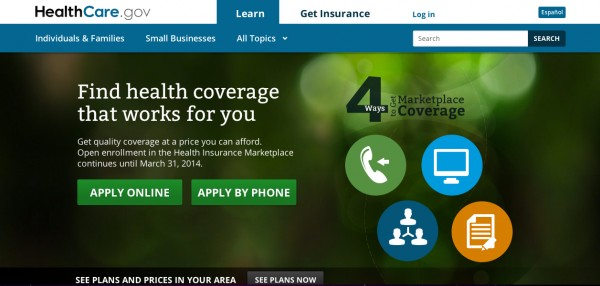 A screenshot of Healthcare.gov, the federal government's troubled website for the health insurance marketplaces created under the Affordable Care Act.