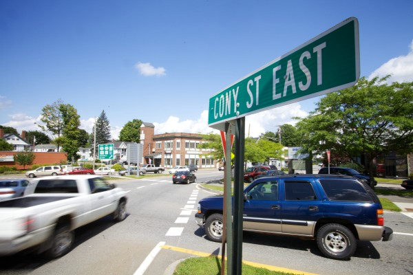 Vehicles enter and exit a rotary from Bangor Street and Cony Street in Augusta Wednesday.