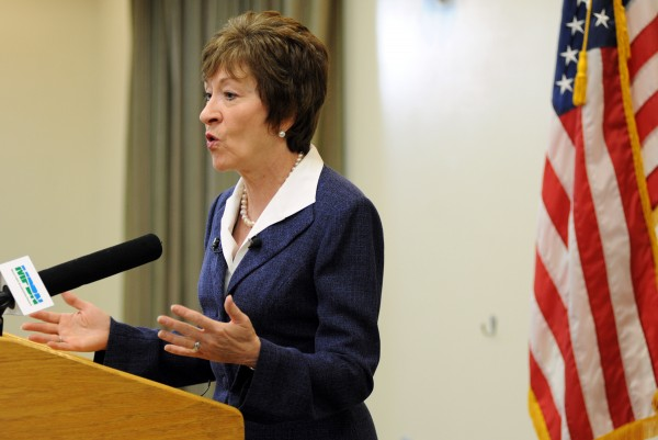 U.S. Sen. Susan Collins speaks to the media at Husson University's Dyke Center for Family Business on Thursday morning about her role in the federal deal to end the 16-day government shutdown.