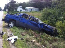 Police took this August 2013 photo of the truck that driver Jennifer Lambeth lost control of in an accident on Back Searsport Road that left her with significant injuries.