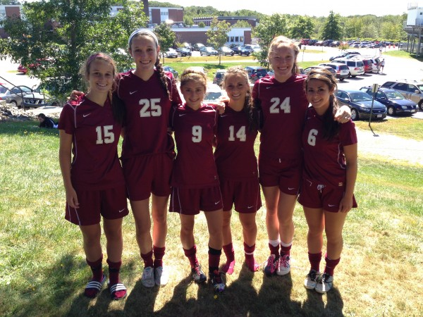 Three sets of sisters are playing soccer for the Bangor High School team this season. From left are Grace Morris, Katie Butler, Anna-Maria Dagher, Anna Morris, Mary Butler and Katerina Dagher.