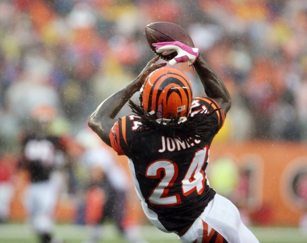 Cincinnati Bengals cornerback Adam Jones (24) intercepts a pass against the New England Patriots at Paul Brown Stadium in Cincinnati Sunday. Cincinnati defeated New England 13-6.