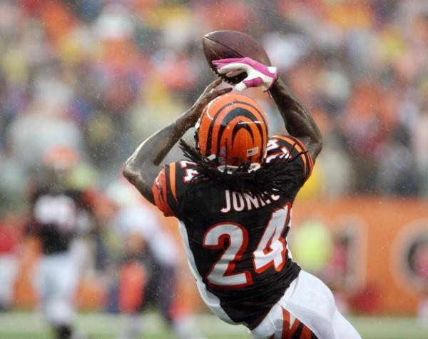 Cincinnati Bengals cornerback Adam Jones (24) intercepts a pass against the New England Patriots at Paul Brown Stadium in Cincinnati Sunday. Cincinnati defeated New England 13-6.