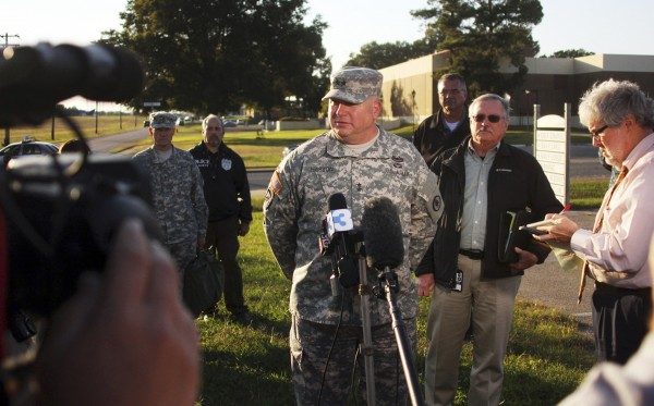 Major General Terry M. &quotMax&quot Haston, Adjutant General Tennessee National Guard speaks to reporters at the National Guard Armory in Millington, Tennessee October 24, 2013. Two National Guard soldiers were shot and wounded at the armory outside the U.S. Navy facility in Millington, and a third National Guard member suspected in the shooting was taken into custody, authorities said.