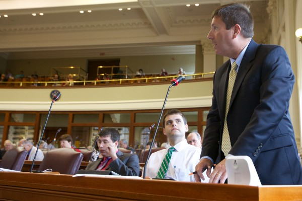 State Rep. Kenneth Fredette speaks against overriding Governor LePage's veto of LD1362, a tar sands study, at the State House in this July 2013 file photo.
