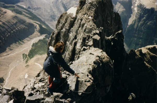Carmel mountaineer Richard Gebert of Carmel is photographed in 1991 on the ridge summit of Mount Alberta in Canada, an 11,874-foot peak in the Canadian Rockies, by fellow technical climber Chip Getchell, who now lives in China, Maine. Gebert died Aug. 14 on his tenth expedition to the Canadian Rockies to mountaineer and solo climb.