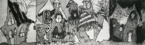 The Village by Casey Weibust, one of the Maine artists participating in a live-action presentation of collaborative art and poetry that will take place at 5 p.m. Saturday, Oct. 19 at the Hutchinson Center in Belfast as part of the Belfast Poetry Festival.