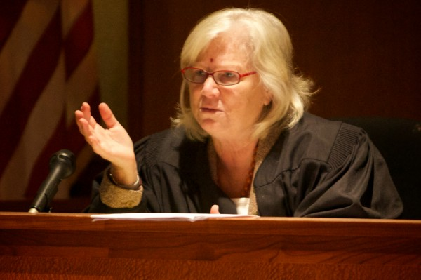 Justice Joyce Wheeler hears arguments in Cumberland County Superior Court Wednesday morning concerning the sale of Congress Square Park.