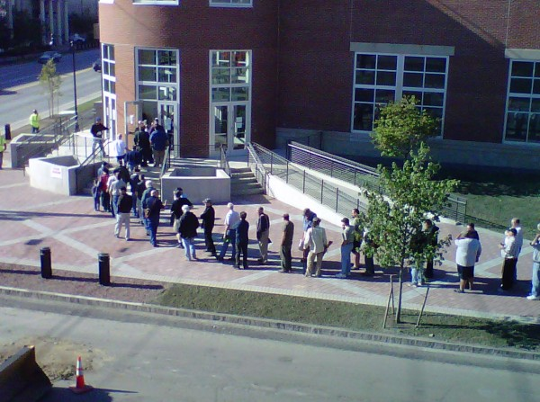 People who waited in line to get into the 36th annual Bangor Gun Show at the Cross Insurance Center on Sept. 7, 2013, slowly start to make their way inside.