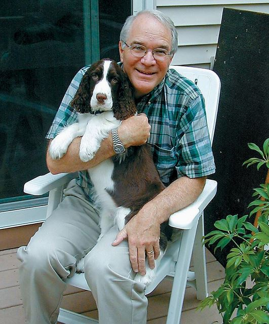 Richard P. Allen with his beloved dog, Jack. Allen, who died in 2010, is the namesake for a new scholarship at Freeport High School.