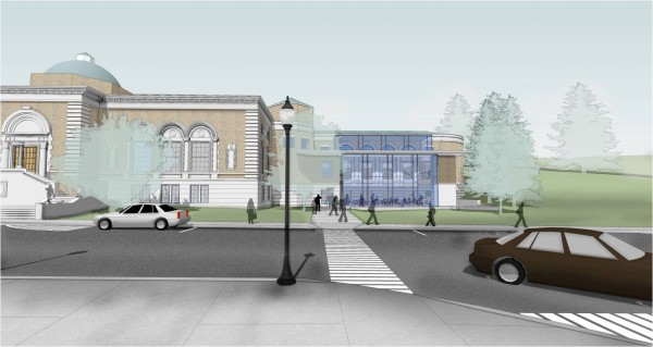 A $3 million redesign-and-renovation project proposed for the Bangor Public Library would add a glass-encased &quotfront porch&quot to the library's 1997 addition. The view is from Harlow Street.
