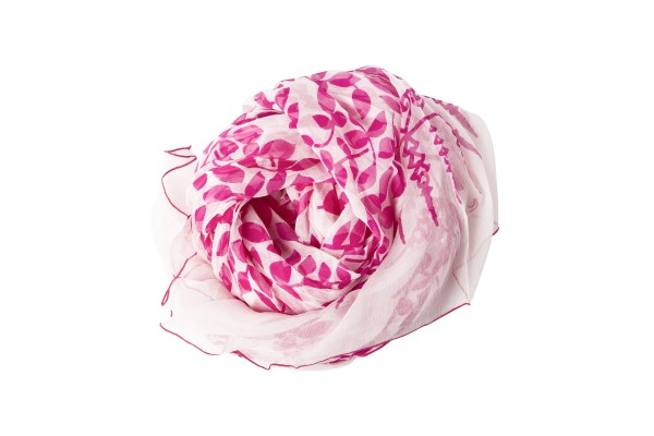 Designer Sarah Stewart's Stylish Adornments created a line of handprinted scarves in 2012 and donated 20 percent of proceeds from the sale of any pink scarf to Susan G. Komen for the Cure.