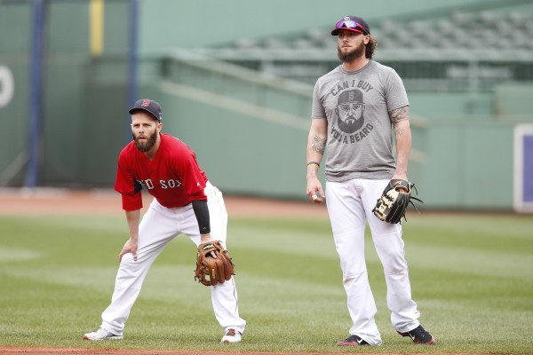 Boston Red Sox second baseman Dustin Pedroia (left) and catcher Jarrod Saltalamacchia (39) participate in a team workout Thursday in preparation for the American League Championship Series at Fenway Park in Boston. The series begins at 8 p.m. Saturday.