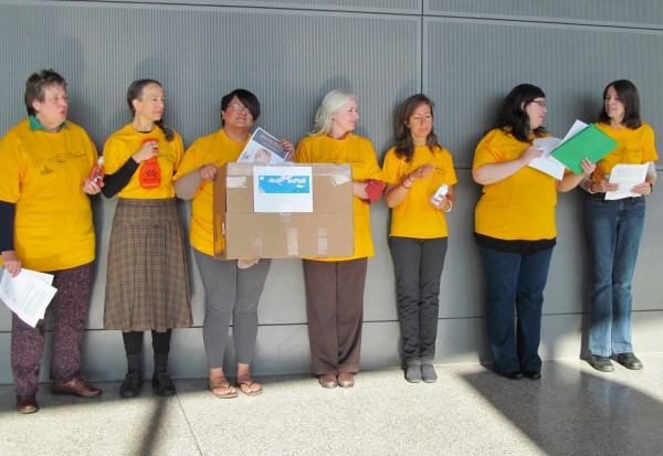 Eight Maine women boarded a plane for Washington, D.C., Monday in Portland as part of an effort to lobby for an update to the nearly 40-year-old Toxic Substances Control Act. The women included, from left to right, Bettie Kettell of Durham, Betty Allen of Auburn, Melissa Dunn of Auburn, Bettyann Sheats of Auburn, Elisa Boxer of Scarborough, Kathy Kilrain del Rio of Portland and Tracy Gregoire of Topsham. Not pictured is Megan Rice of Belgrade.