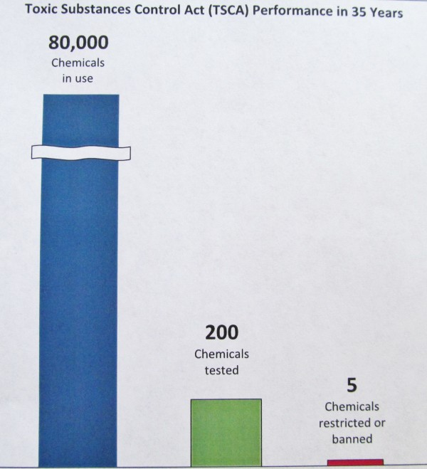 This chart, distributed Monday by the Alliance for a Clean and Healthy Maine, illustrates how the alliance believes the 1976 federal Toxic Substances Control Act is outdated. A group of eight Maine women flew to the nation's capital Monday to lobby for an update to the law.