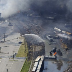 The wreckage of a train is pictured after an explosion in Lac-Megantic on July 6, 2013.