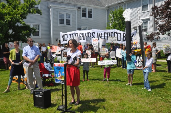 Maura McDonald, a nurse practitioner and South Portland resident, speaks on Thurs., June 6, 2013, at a rally organized by the Protect South Portland against the prospect of pumping oil sand crude, also known as tar sands, from Montreal to South Portland harbor. Protect South Portland launched a citizens initiative to block any attempt by Portland Pipe Line Corp. to pump tar sands to South Portland.