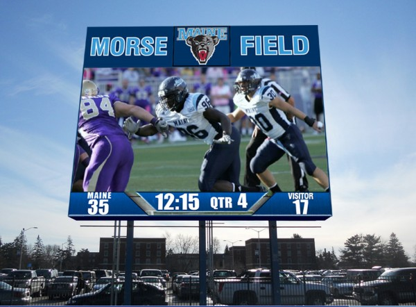 A computer rendering shows the design of the new video scoreboard for Alfond Sports Stadium at the University of Maine.