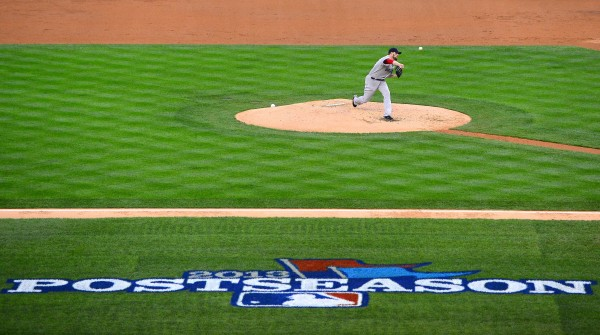 Boston Red Sox starting pitcher John Lackey (41) throws against the Detroit Tigers during game three of the American League Championship Series baseball game at Comerica Park.