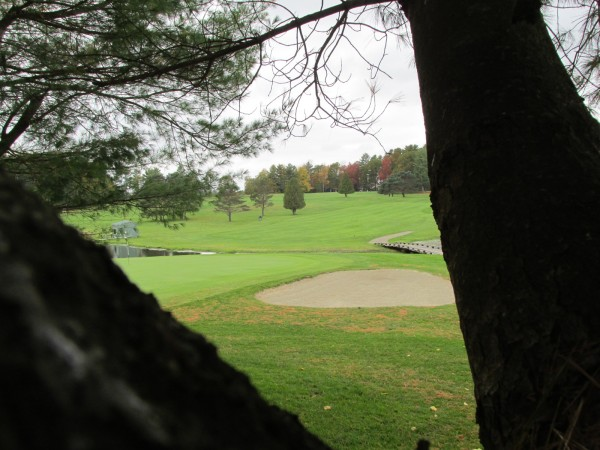 A view of the 18th hole from behind the green on Natanis Golf Course's Arrowhead Course in Vassalboro, where the Maine high school team golf state championships were held on Saturday.