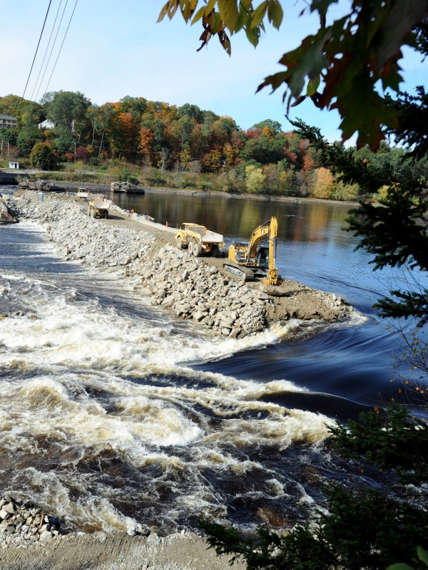 As part of the Penobscot River Restoration Project, the upper coffer dam is being breached on Oct. 10.