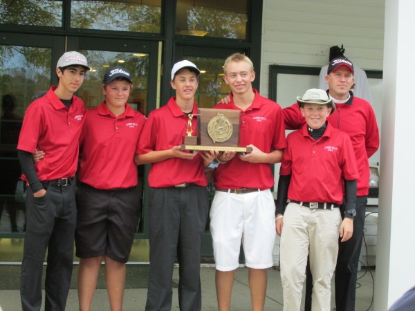 The Camden Hills High School golf team poses with its plaque Saturday after winning the Class B title at the Maine high school golf team state championships at Natanis Golf Course. Pictured are (from left) Jared Garsky, Drew Long, Julian Starbird, Daulton Wickenden, Drew Holt and coach Mark Wallace.