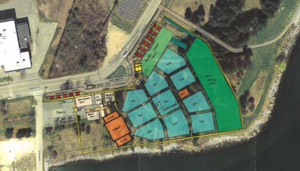 South Portland Economic Development Director Jon Jennings said a concert venue at Bug Light Park, seen in this illustration by Sebago Technics, has great potential for the city, but needs much more study before it is presented to councilors.
