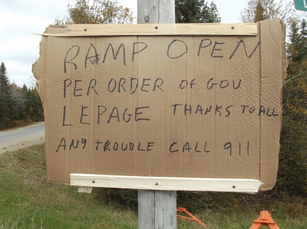 A makeshift sign posted at Edmunds boats launch credits Gov. Paul LePage with pressuring federal officials to reopen it to fishermen.
